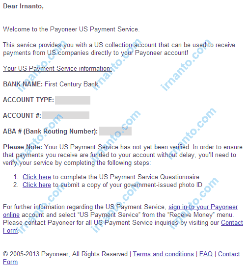 How to activate virtual Bank Account Payoneer