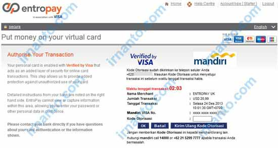 Make VCC Free at Entropay Input Code Verified by Visa