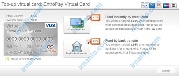 Make VCC Free at Entropay Option Top Up Entropay