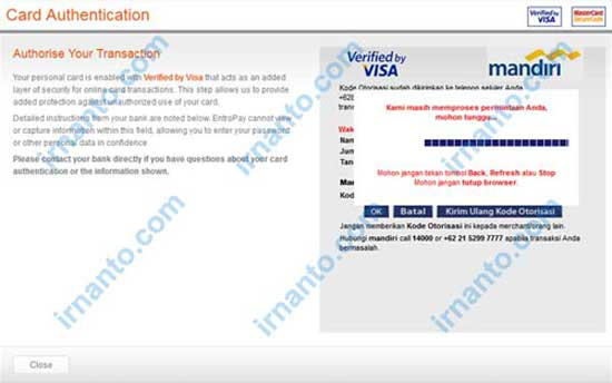 Make VCC Free at Entropay Process Verification Code Verified by Visa