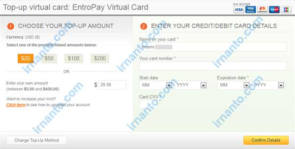 Make VCC Free at Entropay The Top Up Entropay
