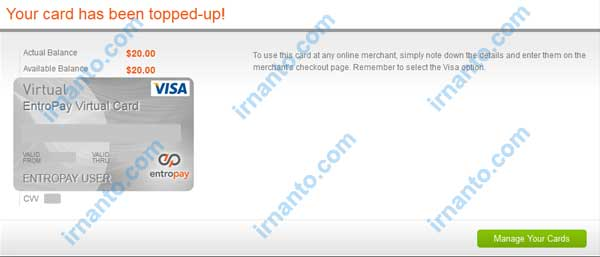 Make VCC Free at Entropay The Top Up Succeed in Entropay