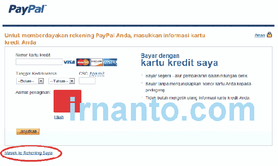 Tutorial Registration Paypal Credit Card