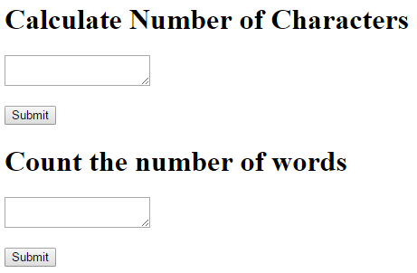 form count the number of characters and count the number of words