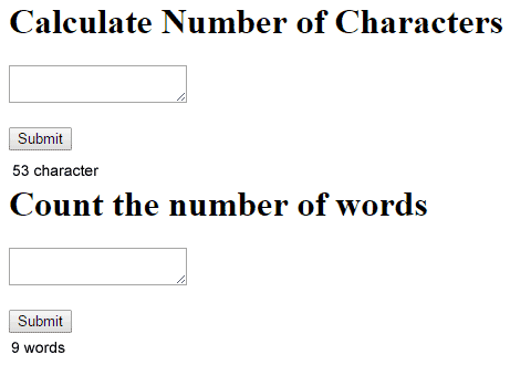 Results count the number of characters and the result of counting the number of words