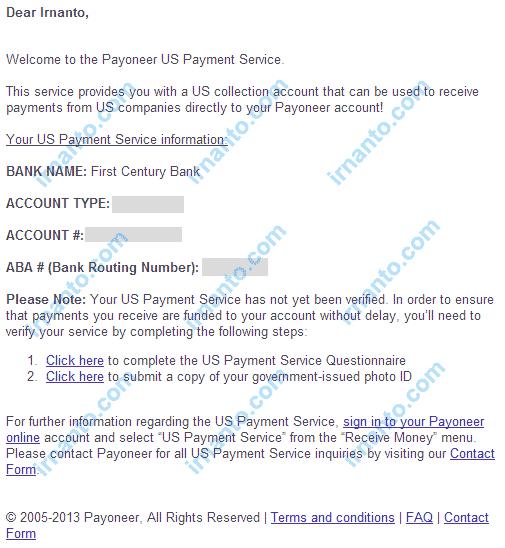 Cara mengaktifkan virtual Bank Account Payoneer irnanto.com