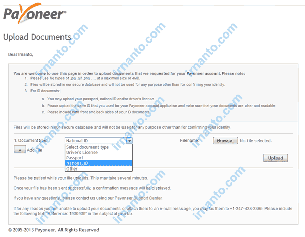 Cara mengaktifkan virtual Bank Account Payoneer submit document irnanto.com