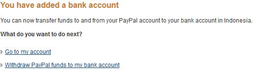 finish tambah rekening bank di paypal