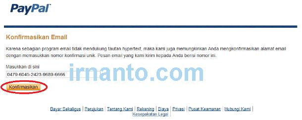 tutorial pendaftaran paypal input konfirmasi email