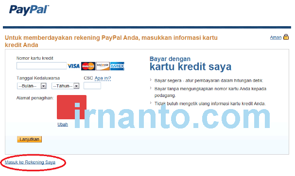 tutorial pendaftaran paypal kredit card