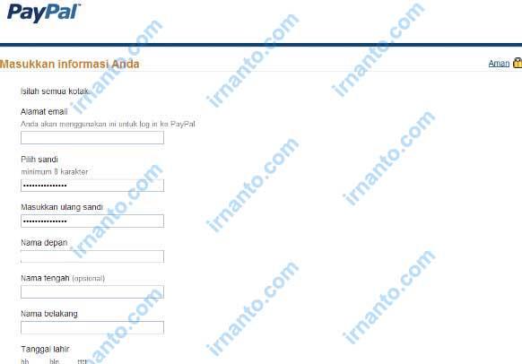 tutorial pendaftaran paypal pengisian data pribadi