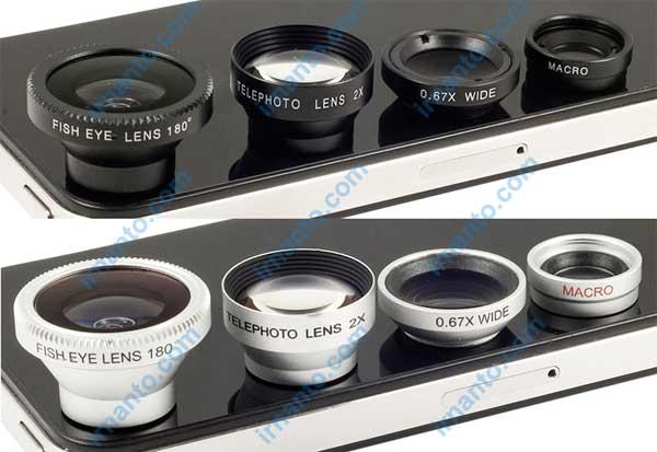 Jual Lensa hp portabel universal 4 fungsi 1 paket murah silver dan hitam - 4in1lens - irnanto.com