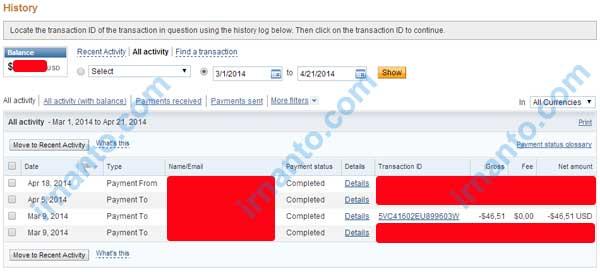 membuka persengketaan dispute di paypal - pilih rentang waktu transaksi paypal - irnanto.com