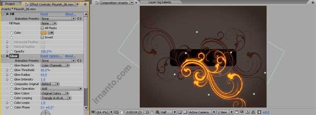 hasil effek glow radius dan perubahan fill color di after effects