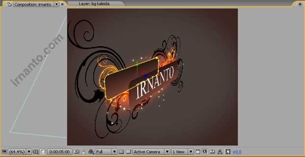 hasil pergeseran koordinat z layer papan after effects