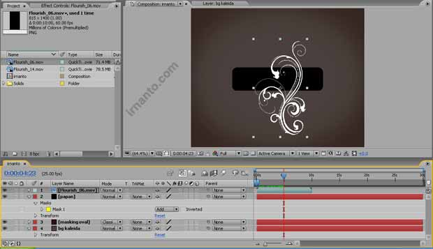 hasil perubahan scale dan time after effects