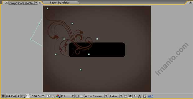 hasil rotation dan pergeseran objek di after effects