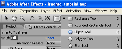 pemilihan shape elipse tool di after effects