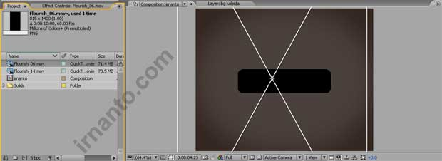 proses drag video ke layar composition