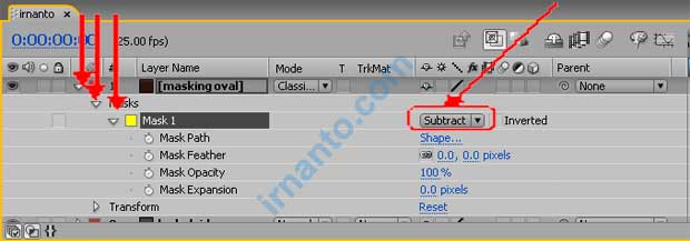 setting masking layer menjadi subtract