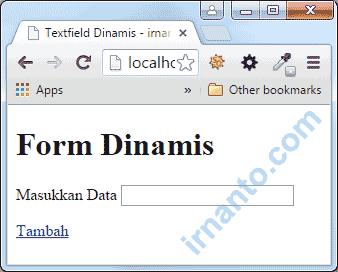 form dinamis awal load di browser irnanto.com