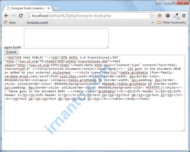 Hasil Kompres Kode HTML dan CSS
