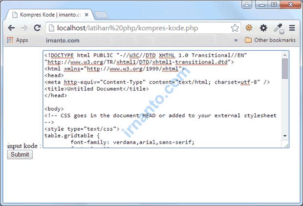 Input Kode Script Yang Akan Di Kompres