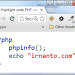 Tampilan Highlight PHP Code