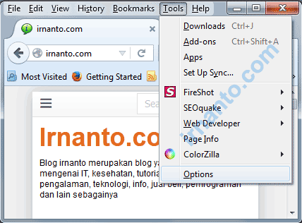 Tampilan Menu Options Browser Mozilla