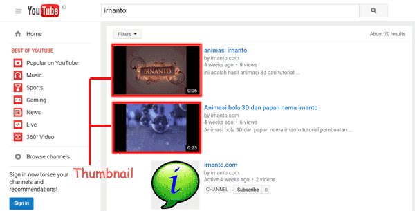 Thumbnail Video Youtube irnanto.com