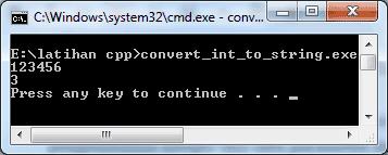 Hasil Konversi Data Integer Menjadi String di CPP