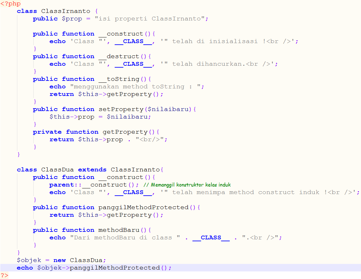 Contoh script OOP - Class PHP