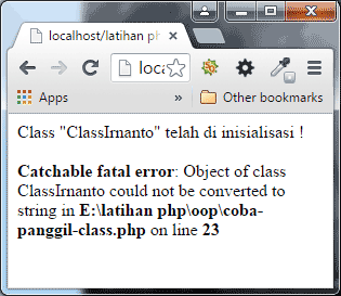 Tampilan output menampilkan Class Tanpa toString