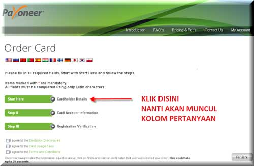 click cardholder details payoneer