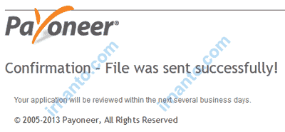 How to Activate Virtual Bank Account Payoneer Confirm File Sent Success