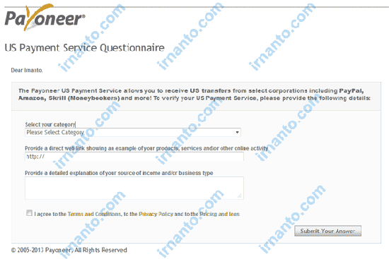 How to Activate Virtual Bank Account Payoneer Submit Questionnaire