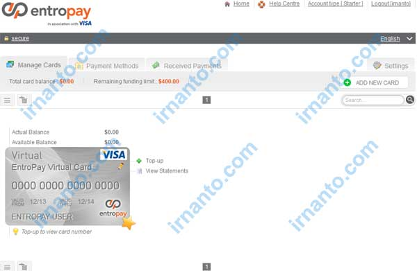 Make Vcc Free at Entropay Page Manage Card