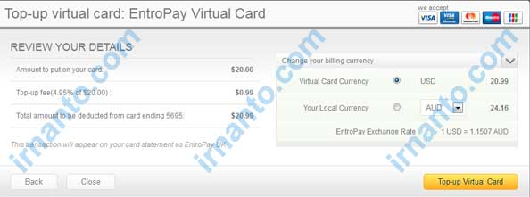 Make VCC Free at Entropay Top Up Election Currency in Entropay