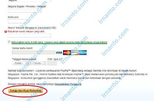 Tutorial Registration Paypal Agrees for Paypal