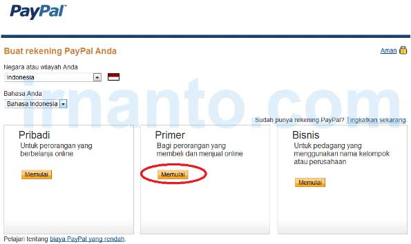 Tutorial Registration Paypal Selection Type Accounts