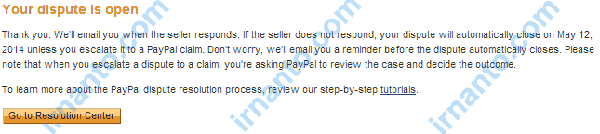 Open Dispute in Paypal Dispute in Paypal Already Opened