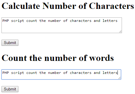 input sentence in the form count the number of characters and count the number of words