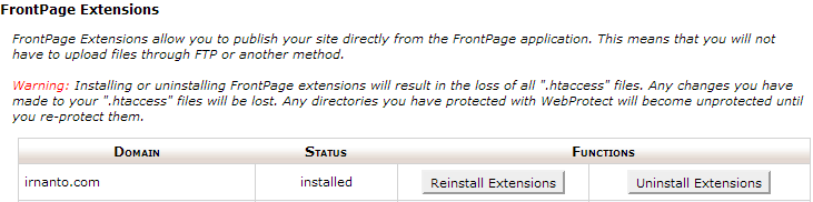 unistall frontpage extention