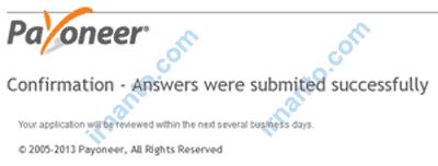 Cara mengaktifkan virtual Bank Account Payoneer confirm answer success irnanto.com