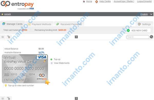 membuat vcc gratis di entropay halaman manage card irnanto.com