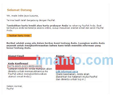 tutorial pendaftaran paypal kode konfirmasi paypal