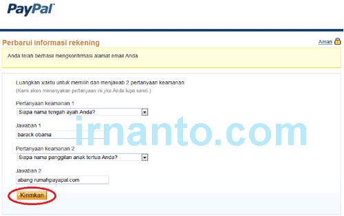 tutorial pendaftaran paypal konfirmasi pertanyaan keamanan