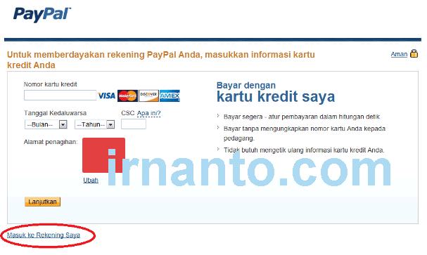 tutorial pendaftaran paypal kredit card