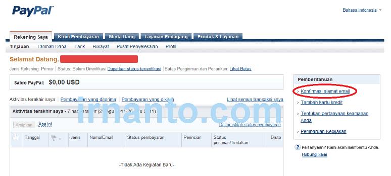 tutorial pendaftaran paypal link konfirmasi email