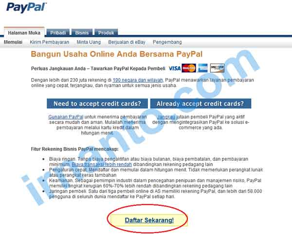 tutorial pendaftaran paypa